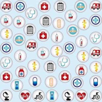Iconos saludables sobre fondo azul ilustración vectorial