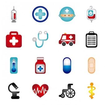 Iconos sanos sobre fondo blanco ilustración vectorial