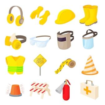 Iconos de seguridad establecidos en estilo de dibujos animados