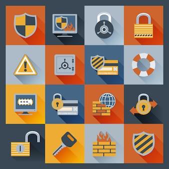 Iconos de seguridad establecidos planos