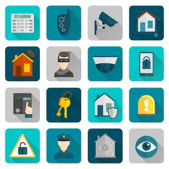 Iconos de seguridad para el hogar planos