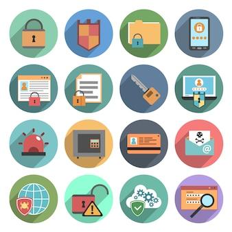 Iconos de seguridad informática conjunto plana redonda