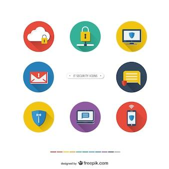 Iconos de seguridad informática Vector Premium