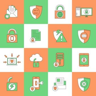 Iconos de seguridad de protección de datos