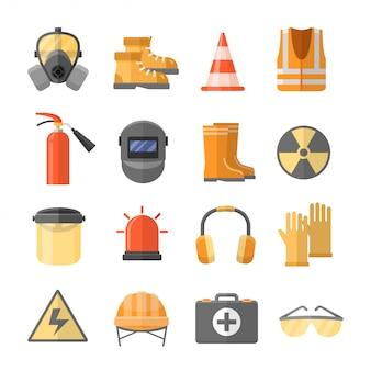 Iconos de seguridad en el trabajo en un estilo plano