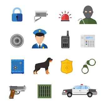 Iconos de seguridad vector aislados sobre fondo blanco