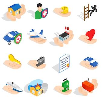 Los iconos del seguro fijados en el estilo isométrico 3d aislaron el ejemplo del vector
