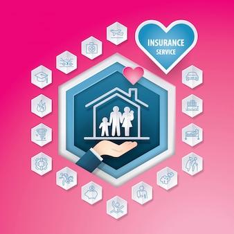 Iconos de seguros de negocios establecidos en el botón