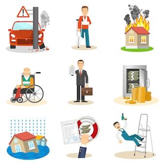 Iconos de seguros y riesgos.