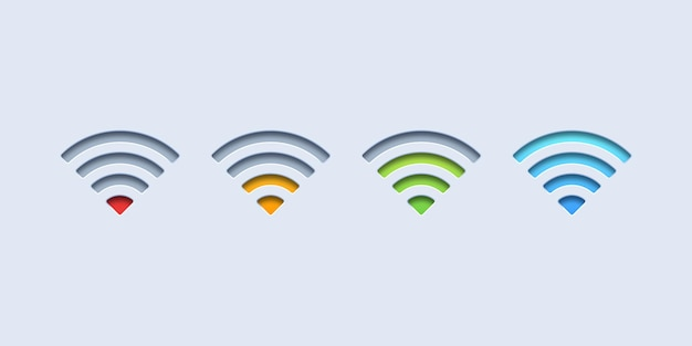 Iconos de señal wifi coloridos