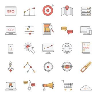 Iconos de seo simples establecidos para el sitio web