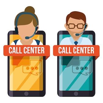 Iconos de servicio de centro de llamadas