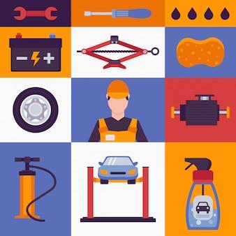 Iconos de servicio de coche en collage colorido