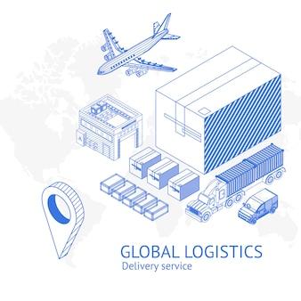 Iconos de servicio de entrega en fondo blanco