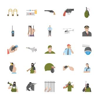 Iconos de servicios contra el terrorismo