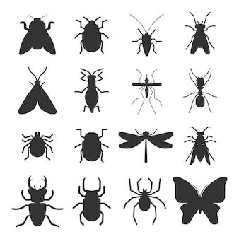 Iconos de silueta de insectos populares aislados