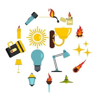 Iconos de símbolos de fuente de luz en estilo plano