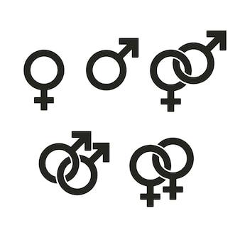 Iconos de símbolos de género. signos entrelazados enemigos y una relación de pareja heterosexual.