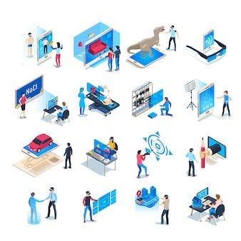 Iconos de simulaciones de realidad virtual isométrica. casco de simulación por computadora, juego de realidad aumentada