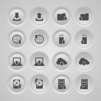 Iconos sobre almacenamiento de datos