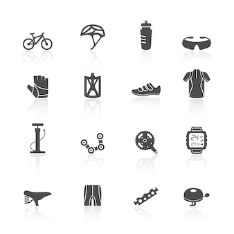 Iconos sobre bicicleta
