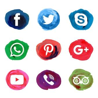 Iconos sociales acuarela salpicadura