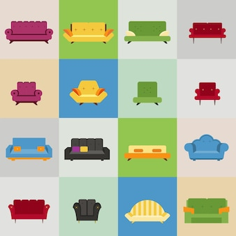 Iconos de sofá y sillón
