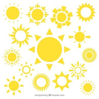 Iconos de sol amarillos