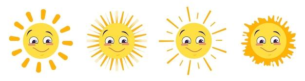 Iconos de sol con diferentes emociones aisladas