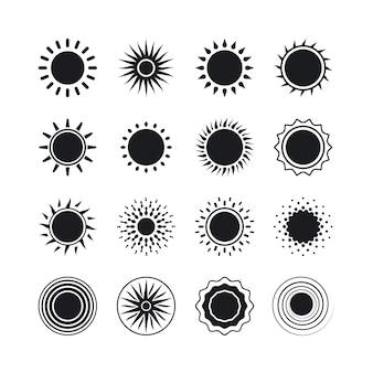 Iconos de sol. puesta de sol negra