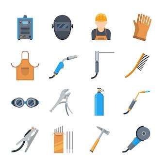 Iconos de soldadura en un estilo plano