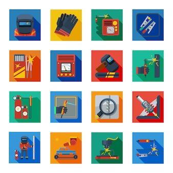 Iconos de soldadura plana en cuadrados de colores