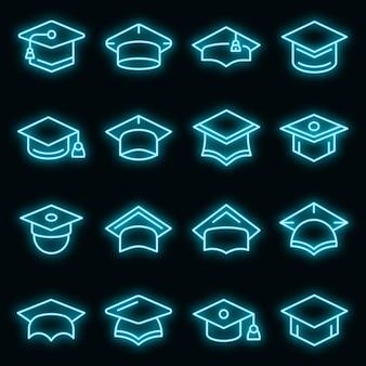 Iconos de sombrero de graduación establecer neón vectorial