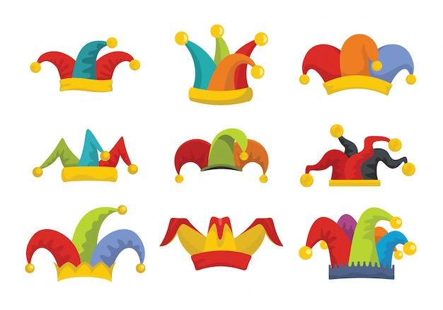 Iconos de sombrero de tontos jester conjunto estilo plano