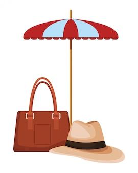 Iconos de sombrilla y playa