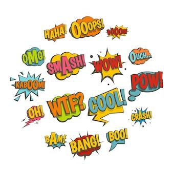 Iconos de sonido de colores cómicos en estilo plano