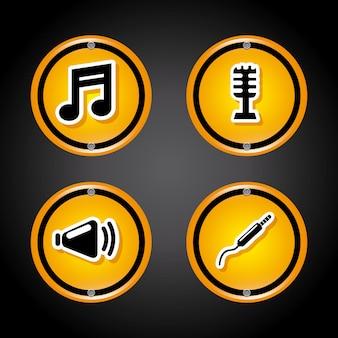 Iconos de sonido sobre gris