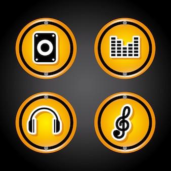 Iconos de sonido sobre negro