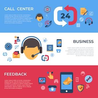 Iconos de soporte de call center y comentarios de negocios