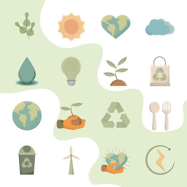 Iconos sostenibles y ambientalmente