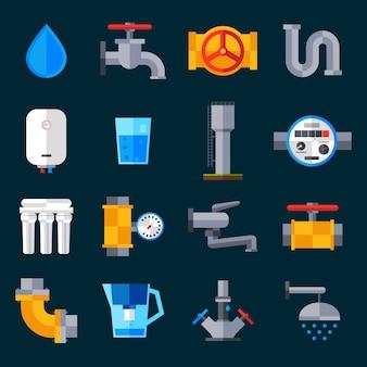 Iconos de suministro de agua