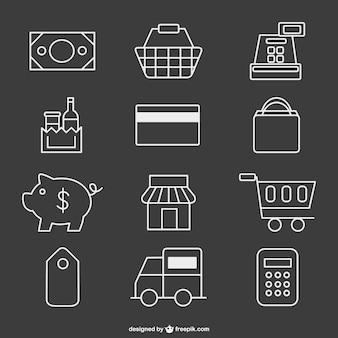 Iconos de supermercado estilo pizarra