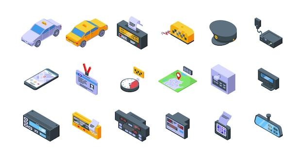 Los iconos de taxímetro establecen vector isométrico. viaje en auto