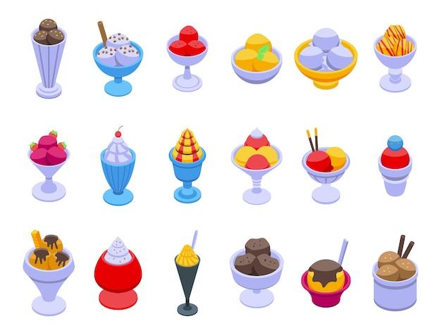 Los iconos de tazón de fuente de helado establecen vector isométrico. helado