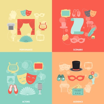 Iconos de teatro planos