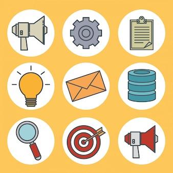 Iconos de tecnología 5g de conectividad