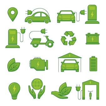 Iconos de tecnología ecológica verde de vector de coche eléctrico para ilustración de vehículo auto de transporte