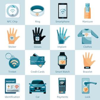 Iconos de tecnología nfc establecidos estilo plano