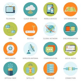 Iconos de telecomunicaciones en círculos de colores
