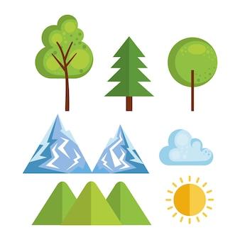Iconos de temporada clima conjunto